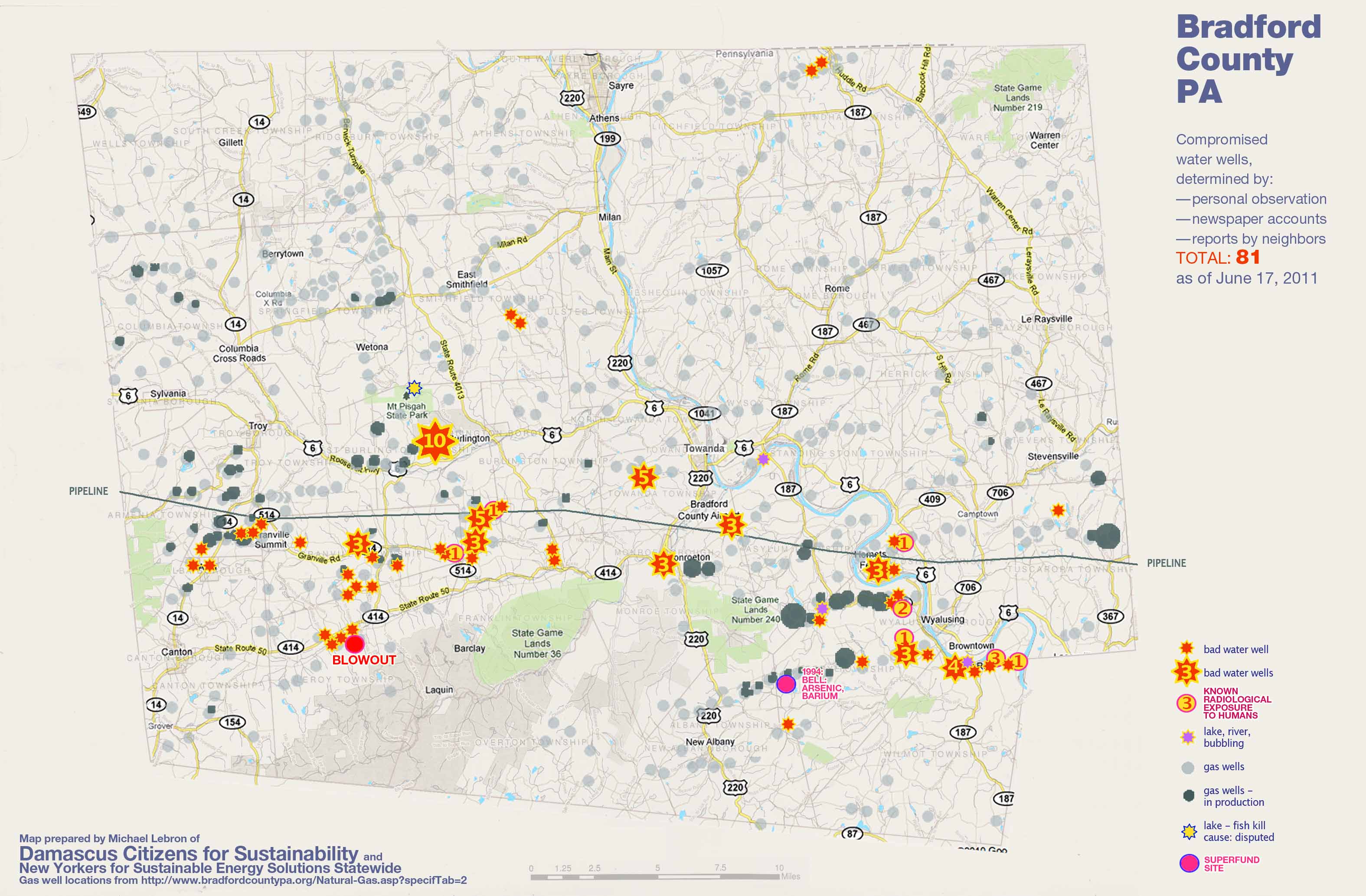 Bradford Co Pa Map Of Compromised Water Gas Wells Gdacc